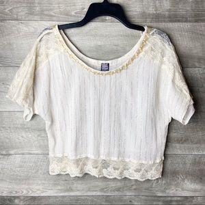Free people embellished lace short sleeve blouse